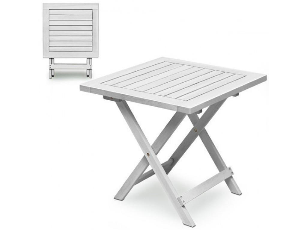 Drewniany Stolik Składany Biały