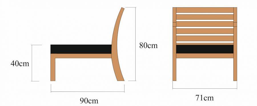 Drewniane krzesło ogrodowe/ moduł środkowy Milano