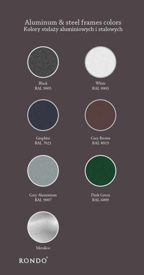 kolory stelaży aluminiowych i stalowych